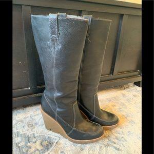Michael Kors black leather wedge boots sz 8
